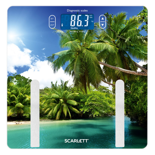 Напольные весы SCARLETT SC-BS33ED12, до 180кг, цвет: рисунок весы напольные электронные scarlett sc bs33e031 макс 180кг рисунок шерсть