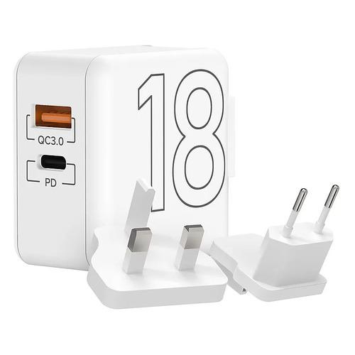 Сетевое зарядное устройство Lyambda 18Вт, USB-C + USB-A, 3A, белый