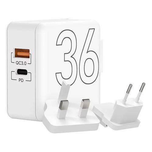 Сетевое зарядное устройство Lyambda, USB-C + USB-A, 3A, белый