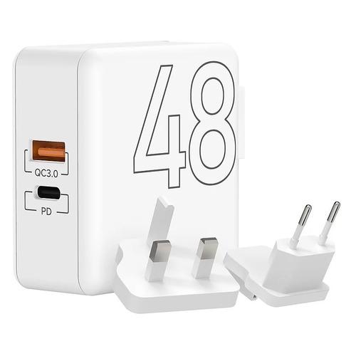 Сетевое зарядное устройство Lyambda 48Вт, USB-C + USB-A, 3A, белый