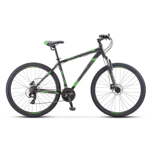 """Велосипед Stels Navigator-700 D (2020) горный рам.:21"""" кол.:27.5"""" черный/зеленый 17.7кг (LU084384)"""