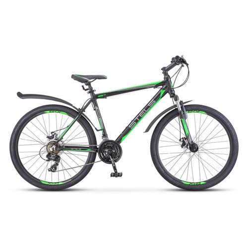 цена на Велосипед Stels Navigator-620 MD (2018) горный рам.:14 кол.:26 черный/зеленый 15.7кг (LU074390)