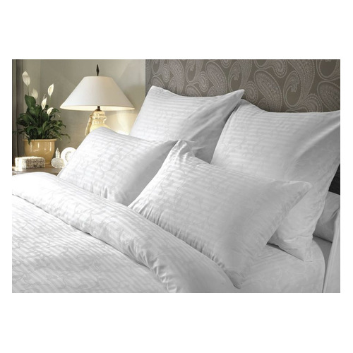Комплект постельного белья Verossa Кружевная сказка семейный сатин страйп белый (738047)