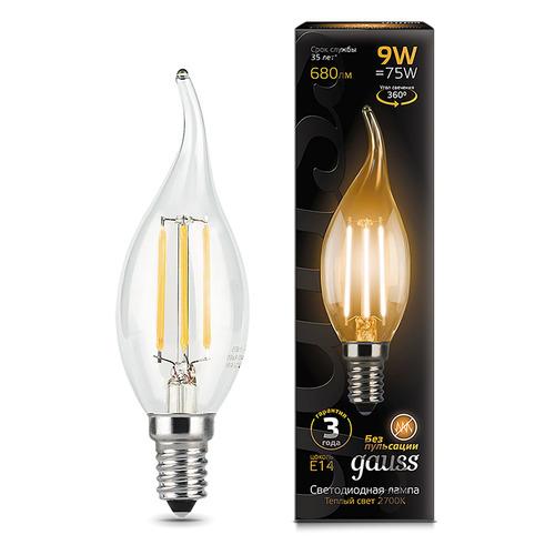 Лампа GAUSS Filament 9Вт, 680lm, 35000ч, 2700К, E14, 1 шт. [104801109] лампа светодиодная gauss 104801109 e14 ca35 9вт