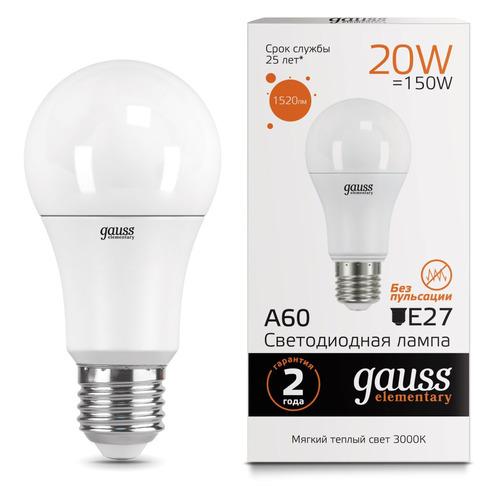 Лампа GAUSS Elementary A60, 20Вт, 1520lm, 25000ч, 3000К, E27, 1 шт. [23219] лампа светодиодная gauss 23219 e27 a60 20вт