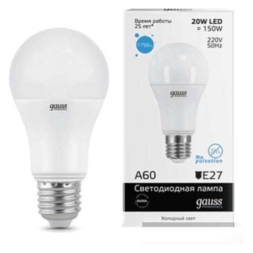 Лампа GAUSS Elementary A60, 20Вт, 1750lm, 25000ч, 6500К, E27, 1 шт. [23239] лампа светодиодная gauss 23219 e27 a60 20вт
