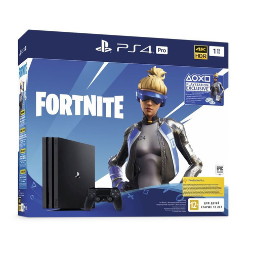 цена на Игровая консоль PLAYSTATION 4 Pro с 1 ТБ памяти, ваучером Fortnite, CUH-7208B, черный