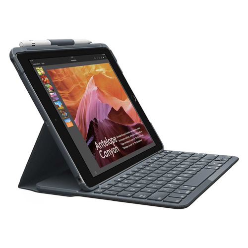 Чехол-клавиатура LOGITECH Slim Folio, для Apple iPad 2019, серый [920-009652]