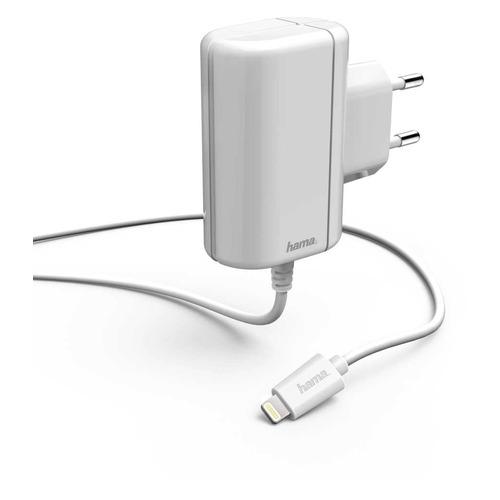 Фото - Сетевое зарядное устройство HAMA H-178262, 8-pin Lightning (Apple), 2.4A, белый сетевое зарядное устройство hama h 183265 8 pin lightning 2 4а белый