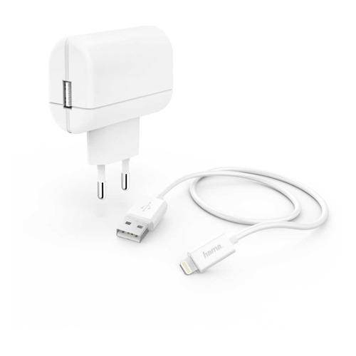 Фото - Сетевое зарядное устройство HAMA H-183265, USB, 8-pin Lightning (Apple), 2.4A, белый сетевое зарядное устройство hama h 183265 8 pin lightning 2 4а белый