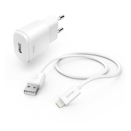 цена на Сетевое зарядное устройство HAMA H-183290, USB, 8-pin Lightning (Apple), 1A, белый
