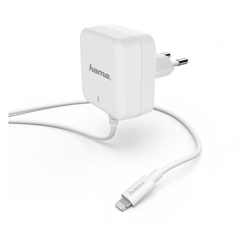 Фото - Сетевое зарядное устройство HAMA H-183318, 8-pin Lightning (Apple), 3A, белый сетевое зарядное устройство hama h 183265 8 pin lightning 2 4а белый