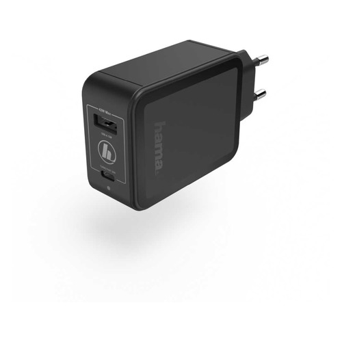 Фото - Сетевое зарядное устройство HAMA H-183321, USB-C + USB-A, 3A, черный сетевое зарядное устройство hama h 173617 usb type c 3a черный
