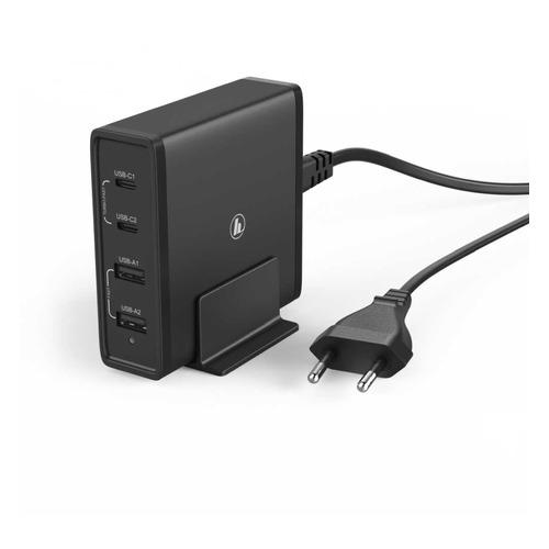 Фото - Сетевое зарядное устройство HAMA H-183376, 2xUSB + 2xUSB type-C, набор разъемов, 2A, черный rt 2xusb