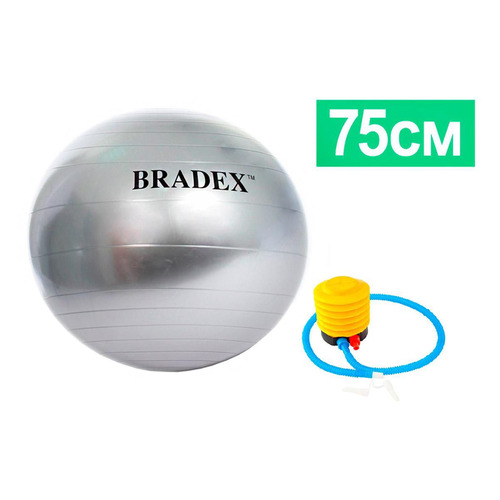 Фото - Фитбол Bradex SF 0187 ф.:круглый d=75см серый мяч для фитнеса bradex фитбол 75 с насосом sf 0187