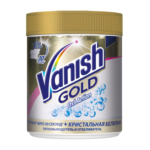 vanish Пятновыводитель Vanish Cristal Gold Oxi Action порошок 0.5кг банка (3025350)