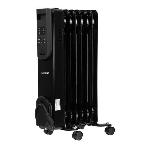 Масляный радиатор STARWIND SHV5710, 1500Вт, черный биметаллический радиатор rifar рифар b 500 нп 10 сек лев кол во секций 10 мощность вт 2040 подключение левое