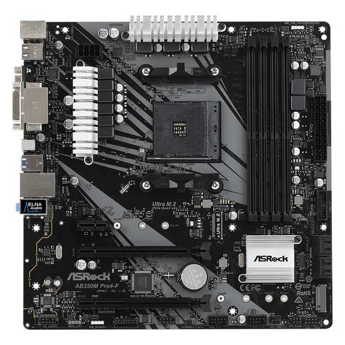 Материнская плата ASROCK AB350M PRO4-F, SocketAM4, AMD B350, mATX, Ret материнская плата asrock fm2a68m dg3 socket fm2 amd a68h matx ret