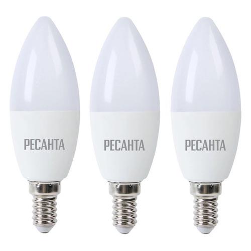 Упаковка ламп РЕСАНТА LL-R-C37-5W-230-3K-E14, 5Вт, 400lm, 35000ч, 3000К, E14, 3 шт. [900/76/1/25] лампочка ресанта груша ll r a60 7w 230 3k e27 76 1 11