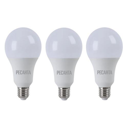 Упаковка ламп РЕСАНТА LL-R-A60-9W-230-3K-E27, 9Вт, 810lm, 35000ч, 3000К, E27, 3 шт. [900/76/1/37] лампочка ресанта груша ll r a60 7w 230 3k e27 76 1 11