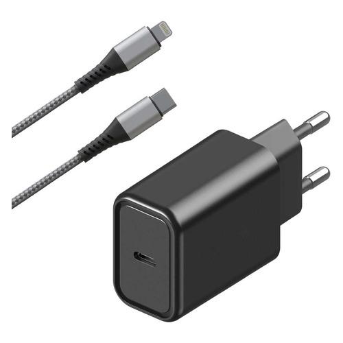 Сетевое зарядное устройство INTERSTEP PDMFIBK18, USB type-C, 8-pin Lightning (Apple), 3A, черный автомобильное зарядное устройство deppa 11293 usb type c usb a qc 3 0 power delivery 18вт черный