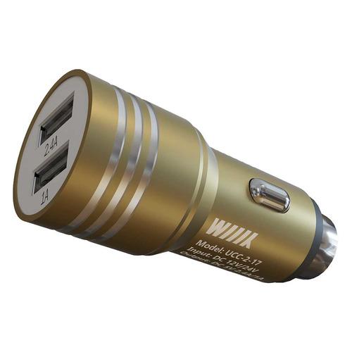 Автомобильное зарядное устройство WIIIX UCC-2-24, 2xUSB, 2.4A автомобильное зарядное устройство wiiix с двумя usb входами цвет черный