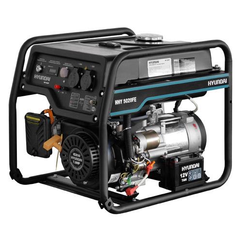 Бензиновый генератор HYUNDAI HHY 5020FE, 230 В, 4.5кВт бензиновый генератор hyundai hhy 5020fe 230 в 4 5квт