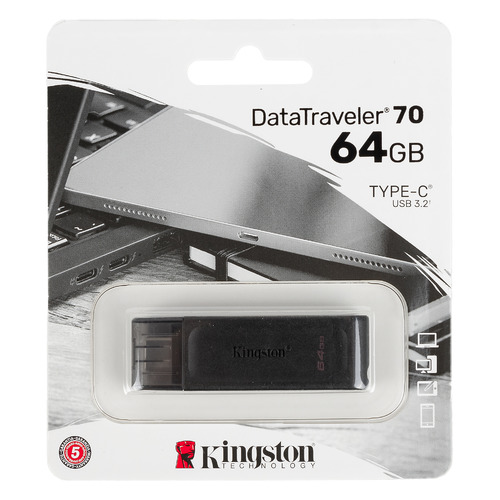 Флешка USB (Type-C) KINGSTON DataTraveler 70 DT70/64GB 64ГБ, USB3.0, черный usb flash накопитель 128gb kingston datatraveler 70 dt70 128gb usb type c черный