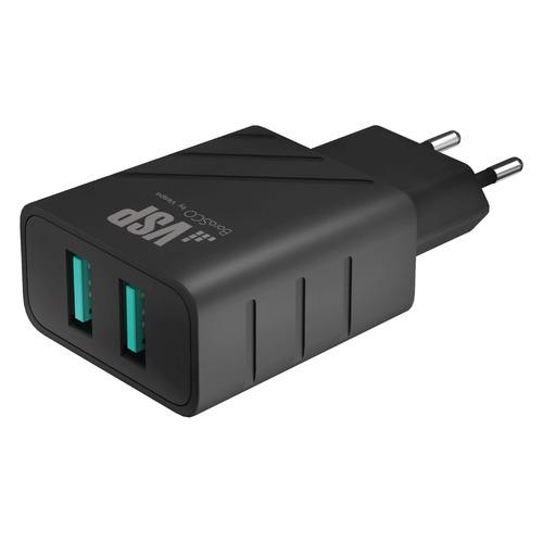 Фото - Сетевое зарядное устройство BORASCO 37262, 2xUSB, 2.4A, черный rt 2xusb