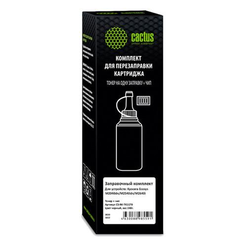 Тонер Cactus CS-RK-TK1170, для Kyocera Ecosys M2040dn/ M2540dn/M2640idw, черный, 240грамм, флакон, чип