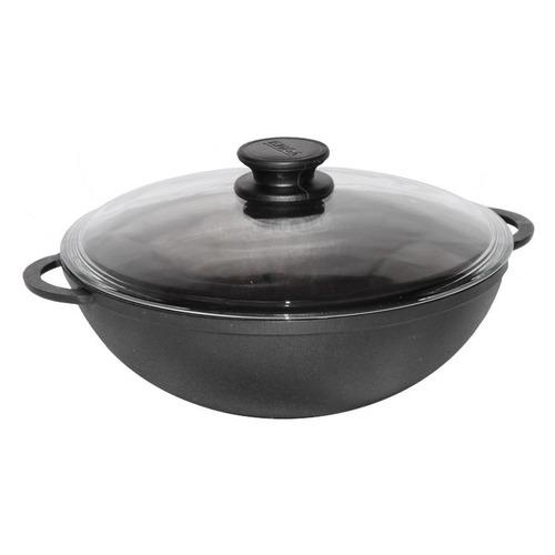 Сковорода ВОК (WOK) БИОЛ 0528С, 28см, с крышкой, черный