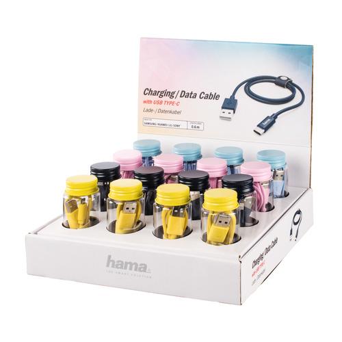 Кабель HAMA USB Type-C (m), USB 2.0 (m), 0.6м, MFI, черный / розовый/желтый/голубой [00183211] кабель fujipower розовый