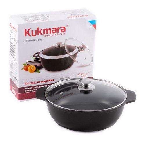 цена на Жаровня KUKMARA ж34а, 3л, с крышкой, черный [д1872]