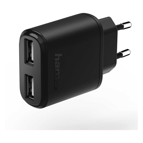 Фото - Сетевое зарядное устройство HAMA H-173623, 2xUSB, 1.2A, черный сетевое зарядное устройство deppa 2xusb 3 4a черный 11385