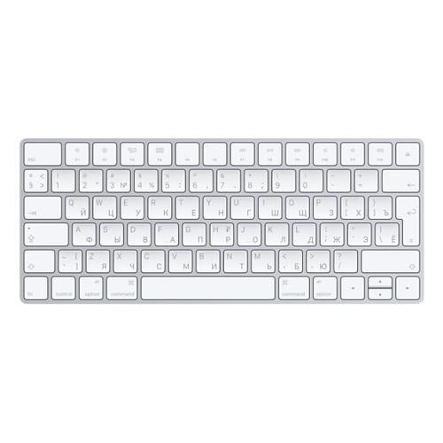 Клавиатура APPLE Magic Keyboard 2, USB, беспроводная, серебристый [mla22ru/a] клавиатура apple magic keyboard with numeric keypad mrmh2rs a space gray bluetooth