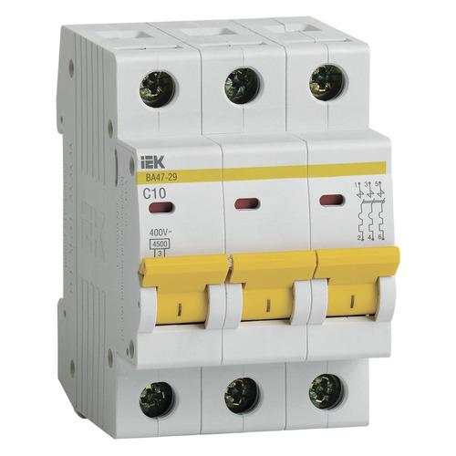 Выключатель автоматический IEK ВА47-29 (MVA20-3-010-C) 10A тип C 4.5kA 3П 400В 3мод белый выключатель автоматический schneider electric easy 9 ez9f34310 10a тип c 4 5ka 3п 400в 3мод