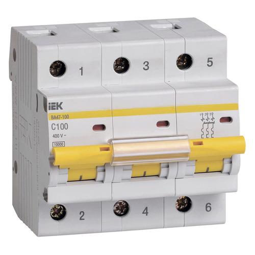 Выключатель автоматический IEK ВА47-100 (MVA40-3-100-C) 100A тип C 10kA 3П 400В 4.5 мод белый