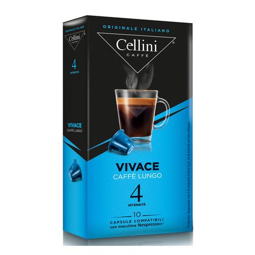 Кофе капсульный CELLINI Vivace Caffe Lungo, капсулы, совместимые с кофемашинами NESPRESSO®, крепость 4, 10 шт кофе капсульный cellini delizioso caffe lungo капсулы совместимые с кофемашинами nespresso® крепость 8 10 шт