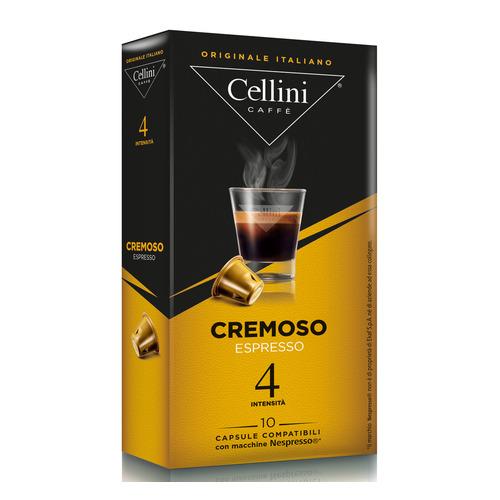 Кофе капсульный CELLINI Cremoso Espresso, капсулы, совместимые с кофемашинами NESPRESSO®, крепость 4, 10 шт