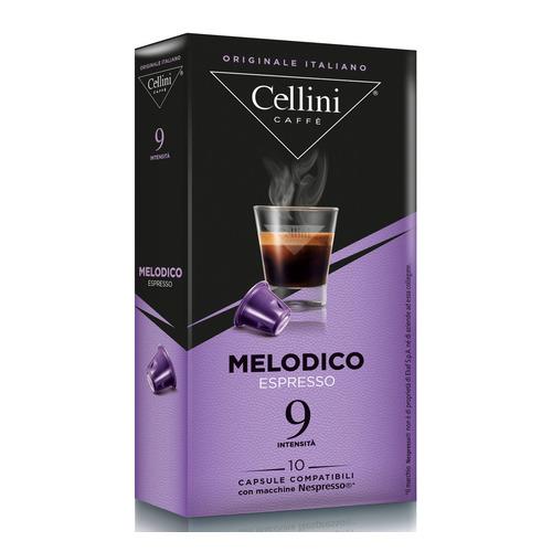 Кофе капсульный CELLINI Melodico Espresso, капсулы, совместимые с кофемашинами NESPRESSO®, крепость 9, 10 шт кофе капсульный cellini delizioso caffe lungo капсулы совместимые с кофемашинами nespresso® крепость 8 10 шт