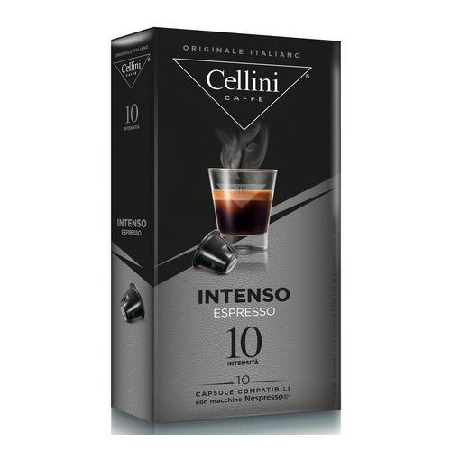 Кофе капсульный CELLINI Intenso Espresso, капсулы, совместимые с кофемашинами NESPRESSO®, крепость 10, 10 шт кофе капсульный cellini delizioso caffe lungo капсулы совместимые с кофемашинами nespresso® крепость 8 10 шт