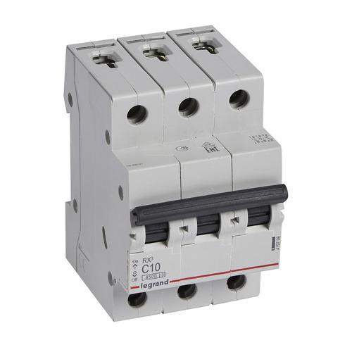 Выключатель автоматический Legrand RX3 (419706) 10A тип C 4.5kA 3П 400В 3мод выключатель автоматический schneider electric easy 9 ez9f34310 10a тип c 4 5ka 3п 400в 3мод