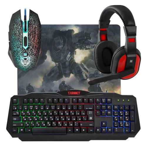 Фото - Гарнитура игровая DEFENDER Target MKP-350, для ПК и игровых консолей, накладные, черный / красный [52350] mkp 37