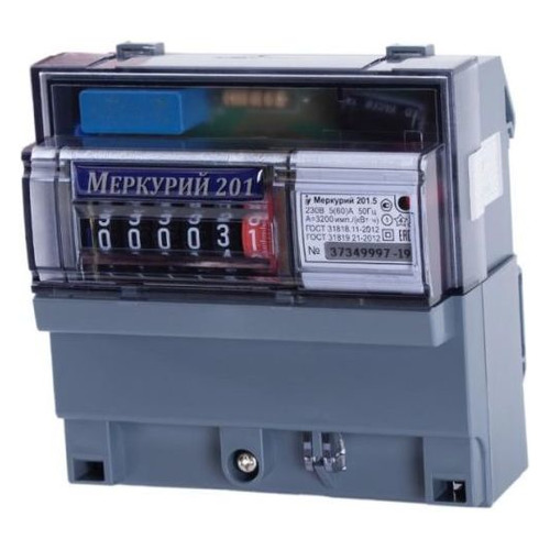 Счетчик электроэнергии Инкотекс Меркурий 201.5 одноф. однотариф. 5(60)A DIN импуль.вых. (32419)