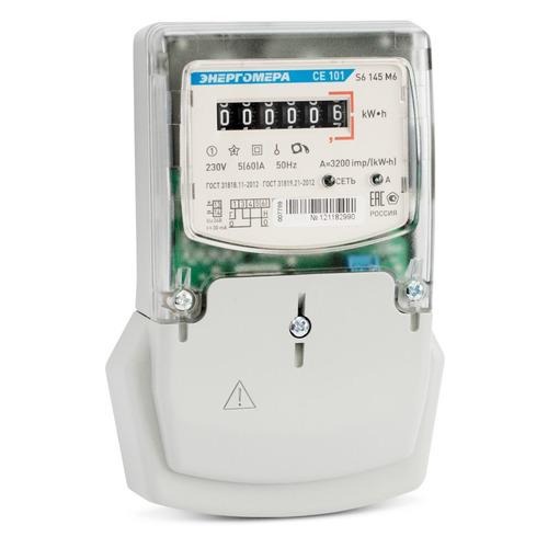 Счетчик электроэнергии Энергомера CE 101 S6 145 M6 одноф. однотариф. 5(60)A монтаж.пл. (101001003007