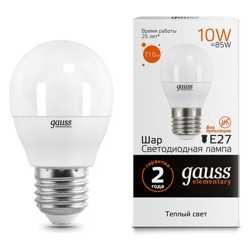 Упаковка ламп GAUSS Elementary 10Вт, 710lm, 25000ч, 3000К, E27, 10 шт. [53210] упаковка светодиодных ламп 10 шт gauss 53210 e27 10вт