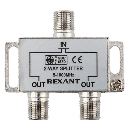 Фото - Сплиттер антенный REXANT 05-6001, F-TV(f) - серебристый делитель спутниковый f типа на 3 tv 5 2500 мгц rexant 10шт
