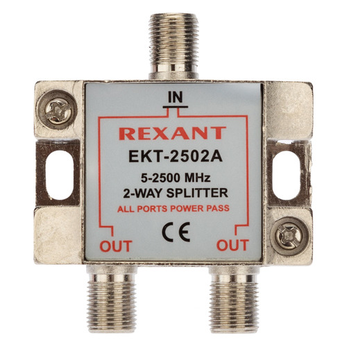 Фото - Сплиттер антенный REXANT 05-6201, F-TV(f) - серебристый делитель спутниковый f типа на 3 tv 5 2500 мгц rexant 10шт