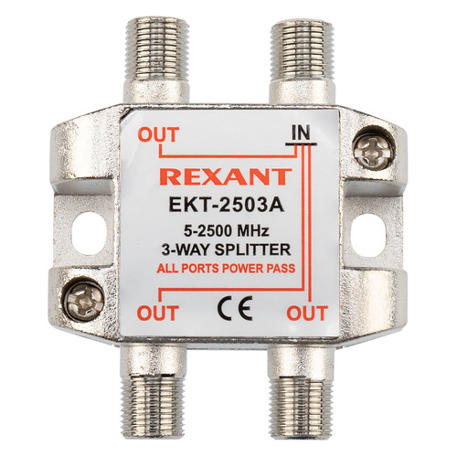 Фото - Сплиттер антенный REXANT 05-6202, F-TV(f) - серебристый делитель спутниковый f типа на 3 tv 5 2500 мгц rexant 10шт