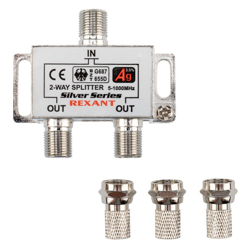 Фото - Сплиттер антенный REXANT 05-6101, F-TV(f) - серебристый делитель спутниковый f типа на 3 tv 5 2500 мгц rexant 10шт